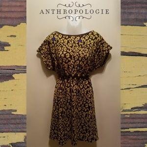 Anthropologie Hazel Leopard Heart Dress with Belt